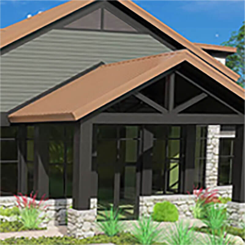 3D rendering of Crossroads Animal Hospital building